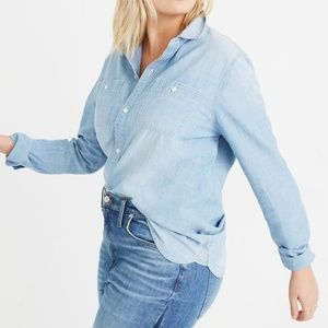 Madewell Chambray  Ex-Boyfriend Shirt Blue M